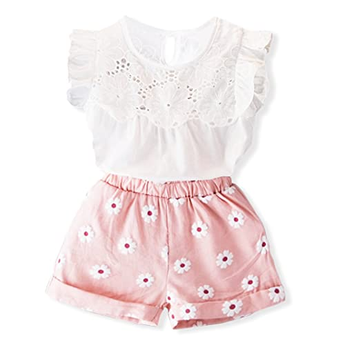 2PCS Baby Kids Girl Outfits Clothes T-shirt Top+Bowknot Pants Shorts Set 2-8Y KW