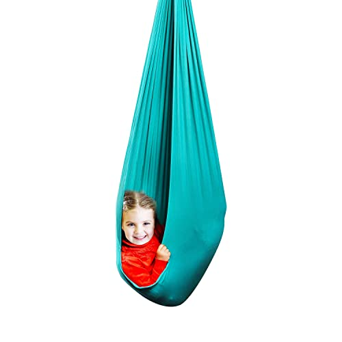 Blue Aspergers Snuggle Swing Cuddle Indoor Outdoor Adjustable Hammock for Children with Autism Sensory Integration ADHD Aokitec Therapy Swing for Kids with Special Needs Hardware Included