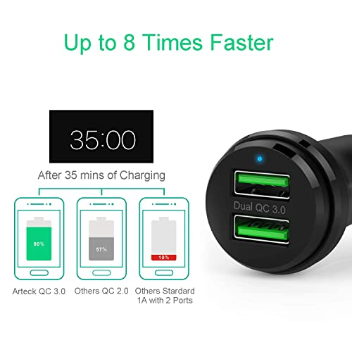 Black iPhone 11 Pro Max X XR XS Max and More Quick Charge 3.0 Car Charger RAVPower 40W 3A Car Adapter with Dual Qc USB Ports Compatible with Galaxy S10 S9 S8 Note 8 Note 9 Note 10