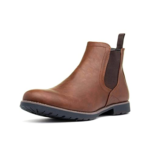 Queensberry London Mens Chelsea Boots Elastic Dealer Chelsea Work Office Closed Toe Cleated Brogue Cushioned Ankle Boots