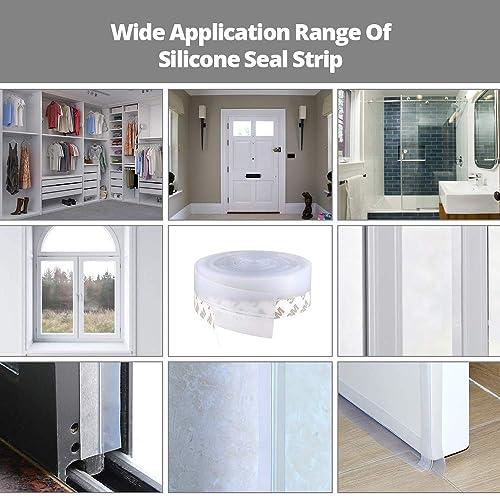 Transparent 20 m// 65 ft Adhesive Seal Strip Doors Silicone Seal Bottom Silicone Strip Weather Stripping Seal Sticker for Doors Windows Gaps