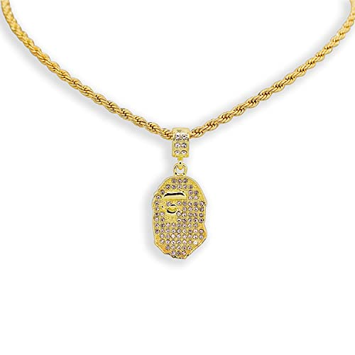 37bc4bdf13940 Buy Yellow Gold-Tone Iced Out Hip Hop Bling Bape Ape Pendant with 24 ...