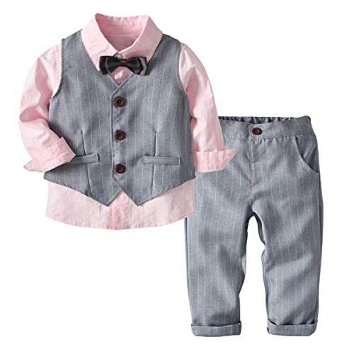 0-6 Months, White+Blue Puseky Baby Boys Gentleman Suit Bow Tie Romper Shirt Shorts Formal Outfits Set