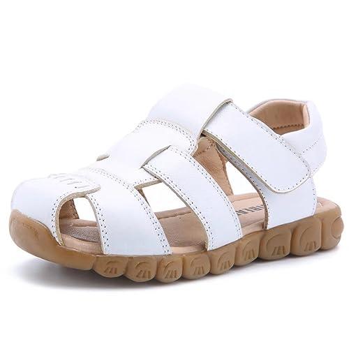 BEBARFER Kids Boys Girls Sandal Leather Open Toe Outdoor Sport Sandals Flat Sandal Water Sandals