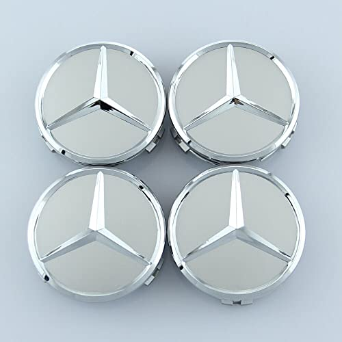 Cear bics 4 Pieces 75mm Dark Blue Center Wheel Hub Caps for Mercedes-Benz,Applicable to All Models