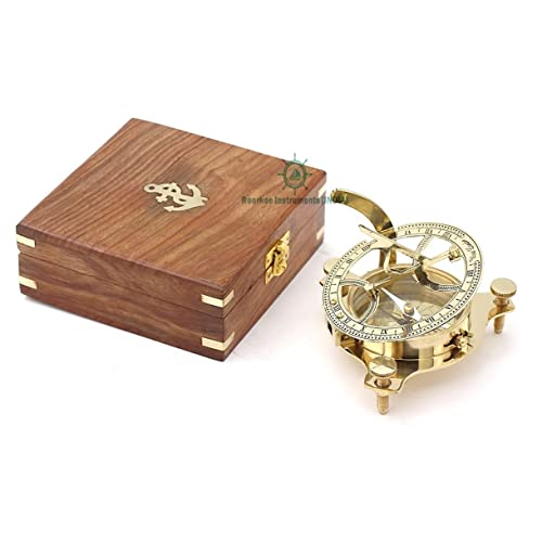 Hiking Roorkee Instruments India Ideas for Men//Vintage Shinny Brass Compass with Wooden Box//West London Directional Magnetic Compass for Navigation//Sundial Pocket Compass for Camping Touring /…