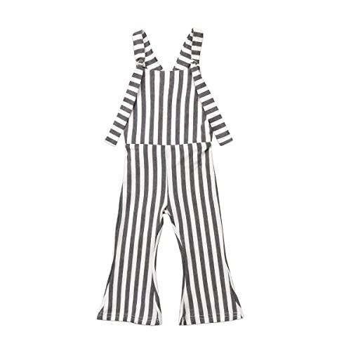 ZAXARRA Toddler Kids Baby Girl Stripes Bell-Bottom Jumpsuit Romper Overalls Pants Outfits Plaid, 1-2 T