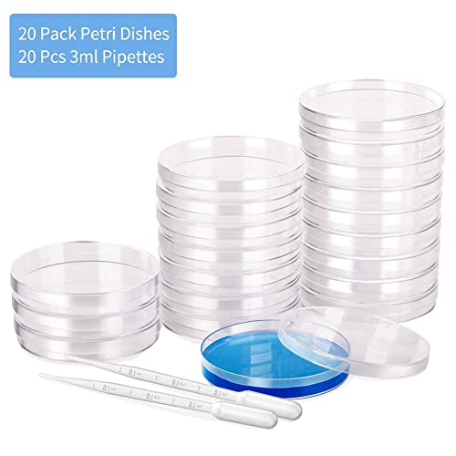 3mm - Perfect Kit for School Science Fair Projects and Birthday Parties - Comes with 10 Plastic Transfer Pipettes 90mm x 15mm Sterile Plastic Petri Dish Set with Lid Vented Pack of 25