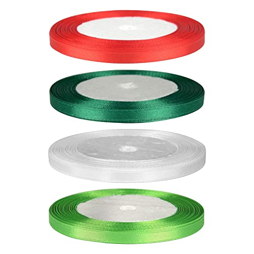 FEPITO 10mm Satin Ribbon 350 Yards Fabric Ribbon Satin Roll 14 Colors