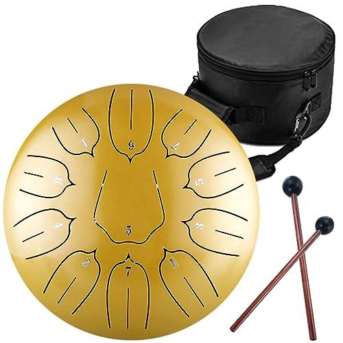 Finger Picks 11 Notes 12 inches Book Mallets etateta Steel Tongue Drum Percussion Instrument -Mini Tongue Drum Black Handpan Drum with Padded Travel Bag