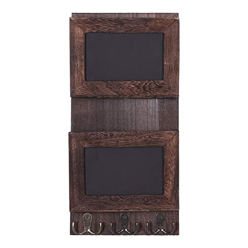 Rustic Torched Wood Wall Mounted Mail Holder Organizer with 4 Double Key Hooks