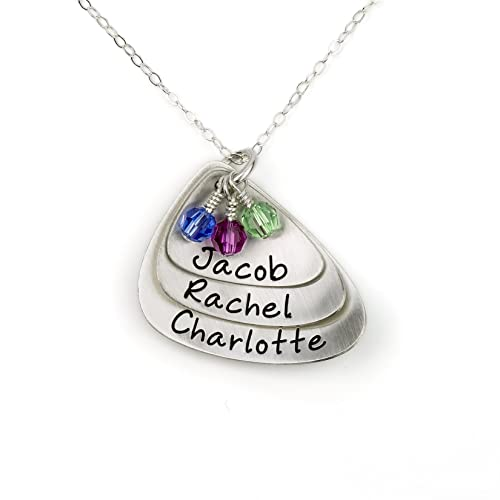 e72d349ca4a AJ's Collection Layered and Domed Three Shell Personalized Sterling Silver  Name Necklace. Customized 3 Name