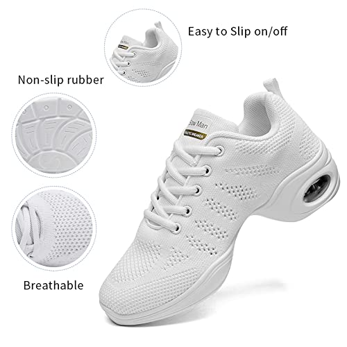 Womens Jazz Shoes Lace-up Sneakers Breathable Air Cushion Lady Split Sole Athletic Walking Dance Shoes Platform pink Size 8 UK