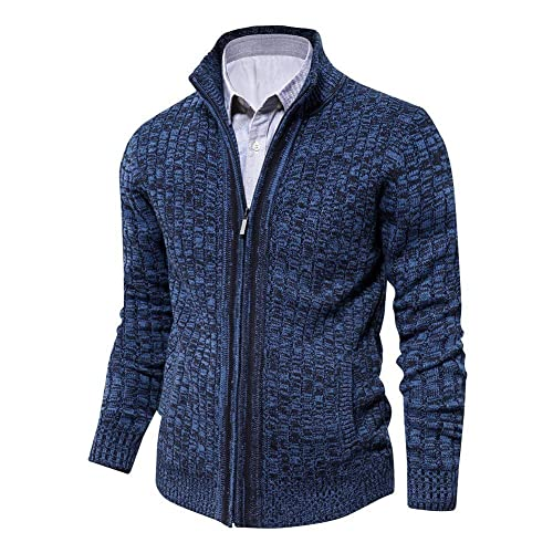 JEKAOYI Mens V Neck Twisted Knitted Cotton Pullovers Casual Long Sleeve Sweater
