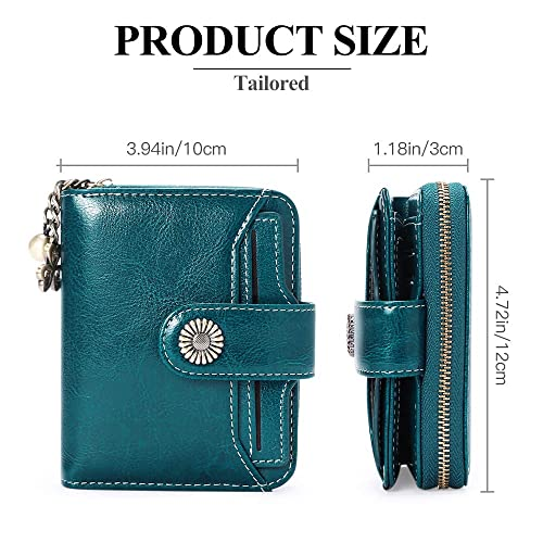BAIGIO Ladies Leather Purse RFID Blocking Womens Small Wallet with Zip Coin Compartment S Red 2 Photo ID 10 Credit Card Slots