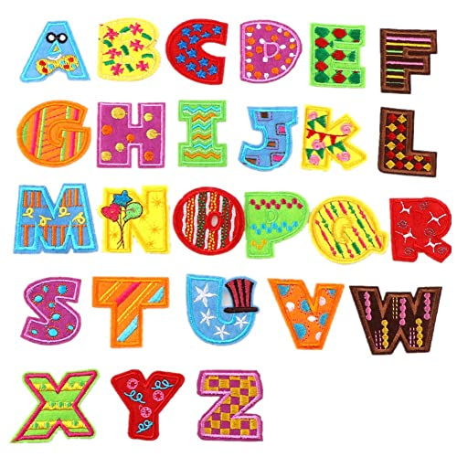 XUNHUI 26 English Letters Patch White Alphabet Word Embroidered Iron on Brand Patch for DIY Appliques Garment Clothes Badge 1 Set