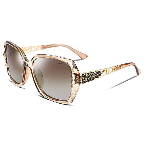 OYMI Oversized Women/'s Polarised Sunglasses Fashion Eyewear UV400 Champagne
