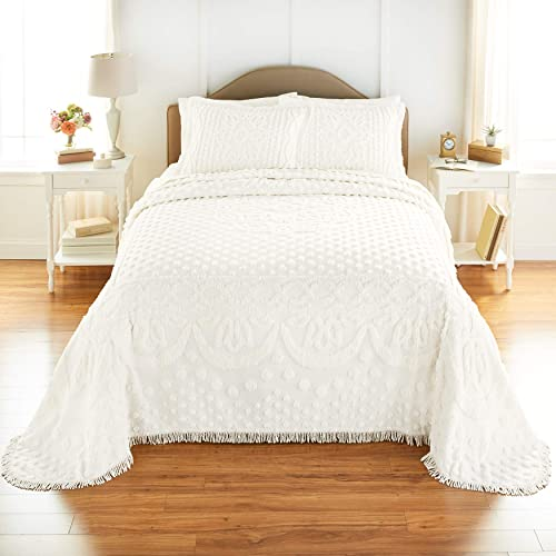 Full Beatrice Home Fashions Oman Chenille Bedspread Ivory