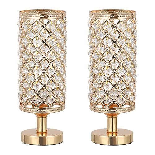 Haitral Set Of 2 Crystal Bedside Table Lamps Fashion Design Gold Nightstand Desk Lamp With Beads Shade Metal Base Diy And Disassembled Light Bedside Lamps For Bedroom Living Room Gold Hellip