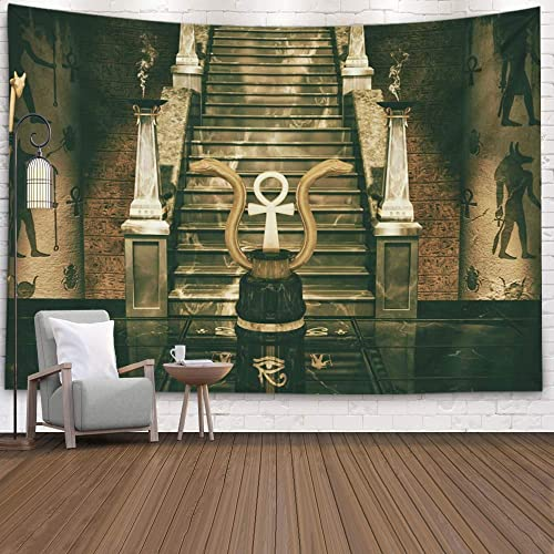 Buy Musesh Hanging Wall Tapestry Landscape Tapestry Wall Hanging For Bedroom Living Room Decor Inhouse Scene Of Two Golden Snakes And An Egyptian Cross Ank Geoglyphs On The Floor 3d 60x50 Inches