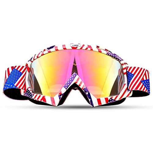 Flag blue /… BATFOX Motorcycle ATV Goggles Dirt Bike Motocross Safety ATV Tactical Riding Motorbike Glasses Goggles for Men Women Youth Fit Over Glasses UV400 Protection Shatterproof