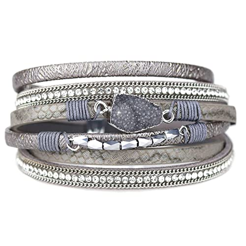 fd6b708f9b8 Eivanc Multi-Layer Leather Bracelet -Wrap Bracelet Boho Braided Cuff Bangle  Crystal Bead Bracelet