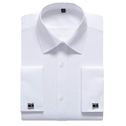 Dobell Mens White Tuxedo Dress Shirt Regular Fit Wing Collar Pleated Fly Front Double Cuff