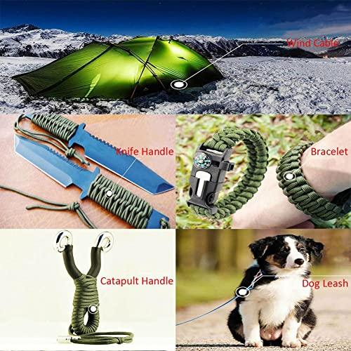 Geelife 640lb Parachute Cord Survival Utility 9 Strands Core 4mm Commercial Grade Paracord Foliage Green, 300 ft