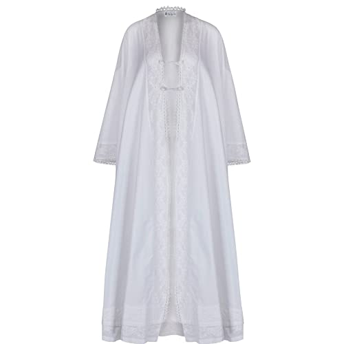 QIKEGooods 100/% Cotton Victorian Nightgown Ladies Long Sleeve Nightdress Women Pajamas Sleep Shirt