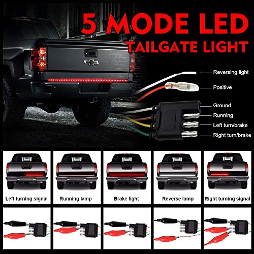 60inch Yellow Turn Signals OPL5 60 Triple LED Tailgate Light Strip Waterproof Plug-and-Play No Drill Install Amber Turn Signal White Reverse Lights for Pickup Truck SUV RV Red Brake//Running