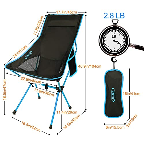 G4Free Outdoor 2 Pack Camping Chair Portable Lightweight Folding Camp Chairs with Headrest High Back High Legs for Outdoor Backpacking Hiking Travel Picnic Festival