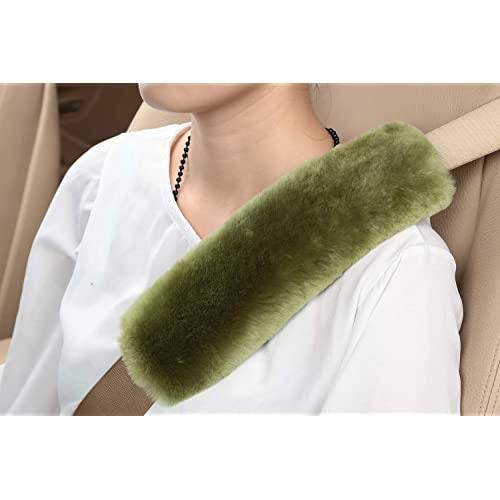 2pcs Authentic Sheepskin Auto Seat Belt Cover Shoulder Seatbelt Pad for Adults Youth Kids Genuine High Density Soft Australian Wool by U/&M Car SUV Airplane,Carmera Backpack Straps Truck