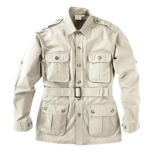 Makkrom Mens Linen Lightweight Safari Jacket Long Sleeve Regular Fit Solid Safari Blazer Jacket