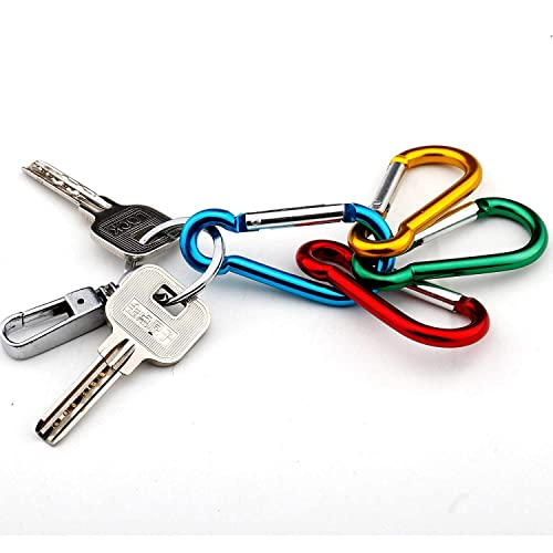 Gimars Spring-loaded Gate Carabiner Clips 10 PCS 6cm D Shape with Locking Screw Nuts Small//Mini Carabiner for Key Chain Climbing Camping Fishing Hiking Travaling Multicolored