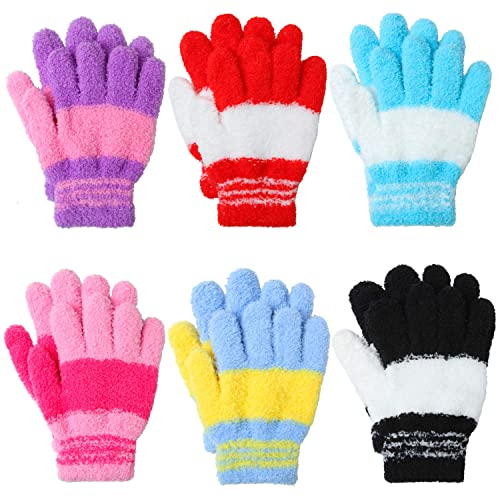 Cooraby 16 Pairs Toddler Gloves Magic Stretch Winter Mittens Soft Warm Unisex Baby Knitted Gloves