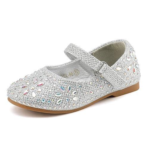 DREAM PAIRS Girls Mary Jane Rhinestone Buckle Strap Ballerina Flat Toddler//Little Girl
