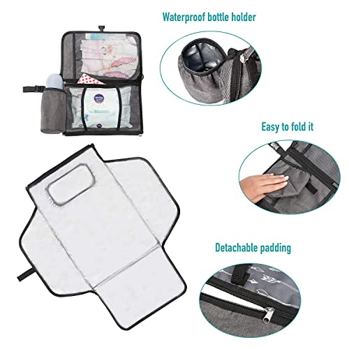 YEAHOME Waterproof Travel Changing Table Pad for Newborn Idea Registry Gift for Boy//Girl Portable Baby Diaper Changing Pad Extended Cushioned Changing Mat with Head Pillow /& Baby Stuff Pockets