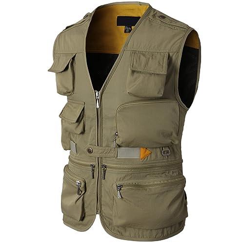 HUPOO Mens Outdoor Jean Vests Multi-Pockets Hiking Fishing Safari Vest Photograph Travel Denim Jackets