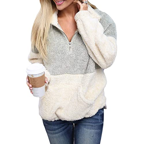 Brovollous Quarter Zip Pullover Sweatshirt Tops with Kangaroo Pocket Casual Color Block Long Sleeve Print Jumpers for Women