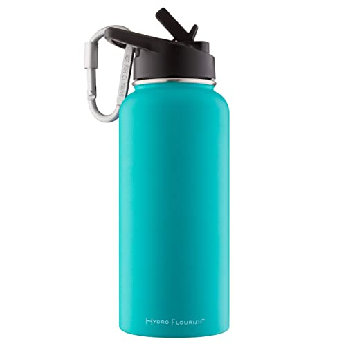Vacuum Insulated Double Wall Copper Layer For Enhanced Insulation Hydro Flourish 32 oz Water Bottle Powder Coated Straw Lid Stainless Steel Leak Proof Purchase Guarantee /… Sweat Free
