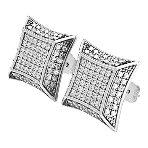 Dazzlingrock Collection 0.30 Carat Diamond Dice Shape Earring ctw Sterling Silver