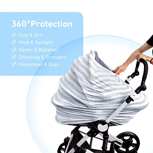 DSYJ Nursing Cover Baby Breastfeeding Scarf with Free Matching Pouch Car Seat Covers Boys and Girls Shower Gifts Floral Multifunctional Cover
