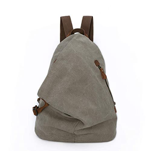 Men Women Backpack Waterproof Canvas With Leather Shoulder Bag Rucksack Daypack