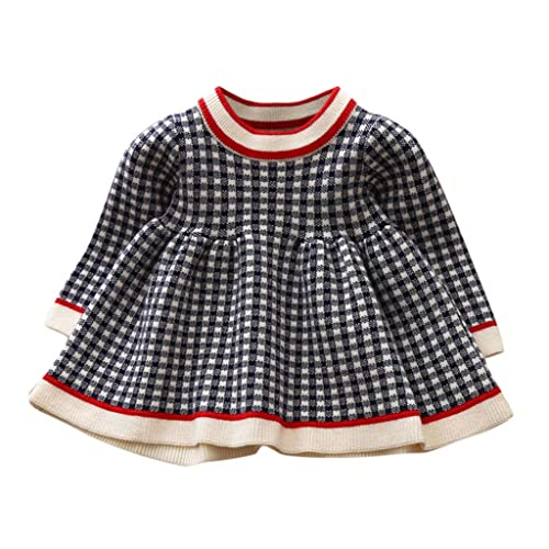 Houystory 0-3 Years Old Baby Clothes Baby Girl Dress Cute Long Sleeve Ruffles Plaid Knit Sweater Princess Winter Dress Casual Dress Outfits