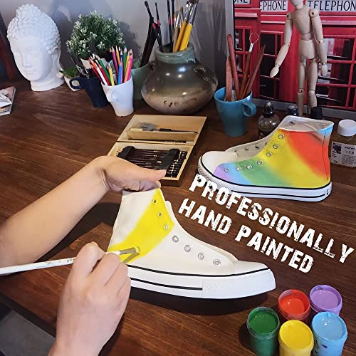 7b9716673dafc Buy Hand Painted High Top Rainbow Canvas Shoes Sneakers with Ubuy ...