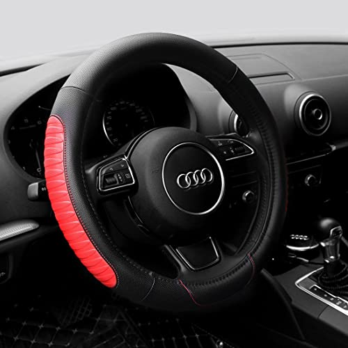 SFONIA Car Steering Wheel Cover Steering Wheel Protector PU Leather Universal 38cm Wine Red 15 Anti-slip Breathable Durable