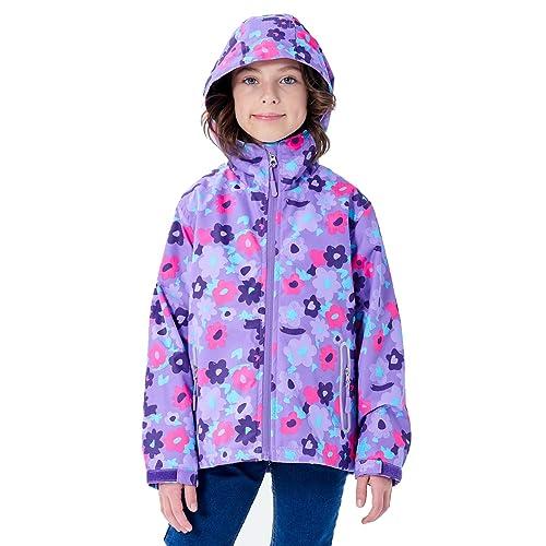 YILLEU Boys Girls Rain Jackets Hooded Waterproof Lightweight Fleece Lined Cotton Lined Coats Windbreakers Raincoats for Kid