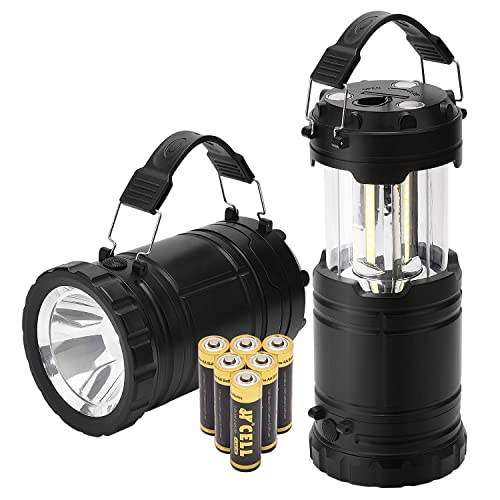 Power Outage 2-Pack COB LED Lantern Flashlight with Magnetic Base 6 Light Modes Zoomable Waterproof Torch for Camping Hiking Emergency Hurricane