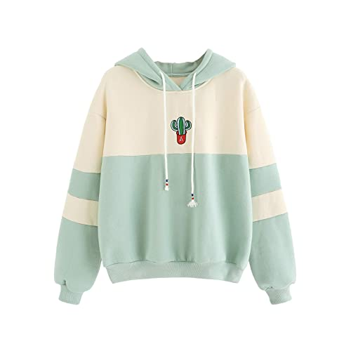 Green Cactus Red Flowers Womens Long Sleeve Pullover Hooded Sweatshirt Top Hoodie with Fleece Lining