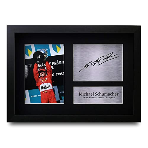 HWC Trading Michael Schumacher Gift Signed A4 Printed Autograph F1 Formula One Gifts Photo Display